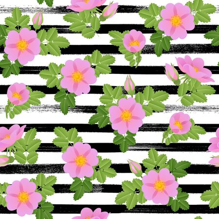 dogrose: Dog-rose branch with flowers and leaves background. Seamless pattern.