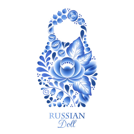 matreshka: Russian nesting doll matrioshka gzhel style. Illustration