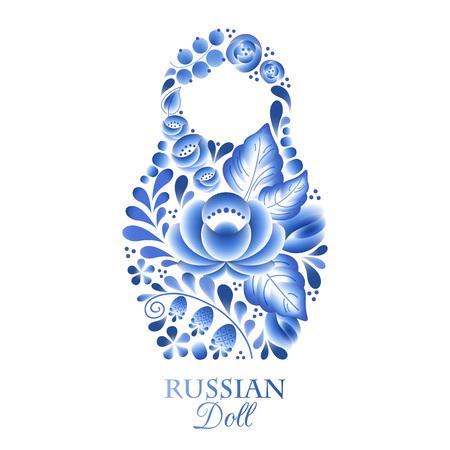 Russian nesting doll matrioshka gzhel style. Illustration