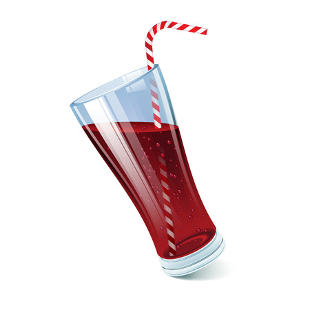 Tilted cola glass with cocktail straw.