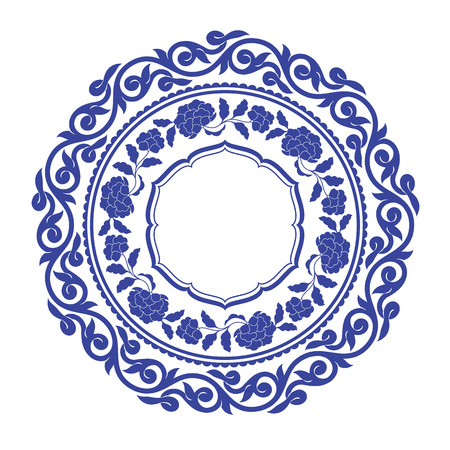 Chinese porcelane round frame. Фото со стока - 83809726