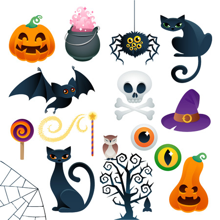 Halloween colorful icons set . Pumpkin, black cats, bat, skull, spider, lollipop, magic hat, scary tree - good for holiday design