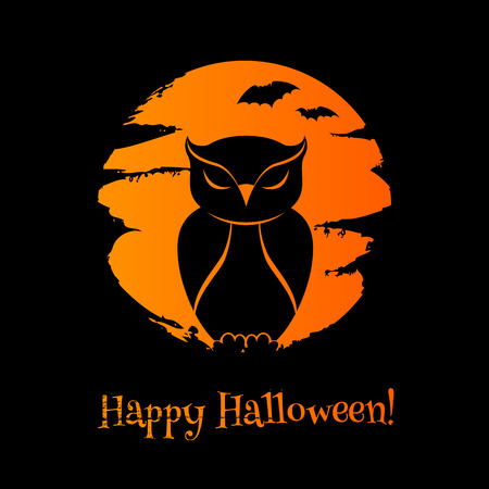 owl illustration: Halloween  with owl, moon and bats. Good for greetings design. Paintbrush strokes texture.
