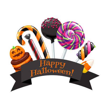 Halloween snoepjes kleurrijke badge.