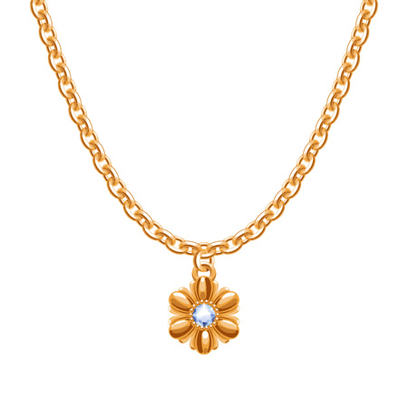 Golden chain necklace with golden flower pendant. Illustration