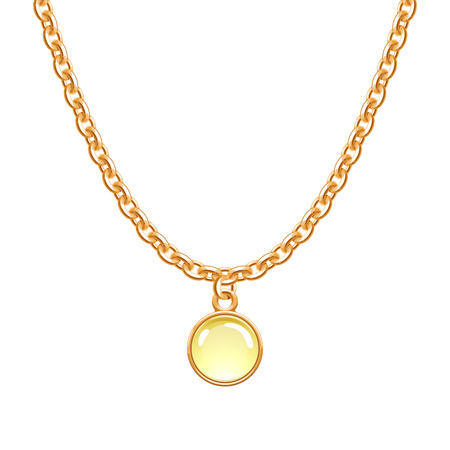 Golden chain necklace with round glass pendant.