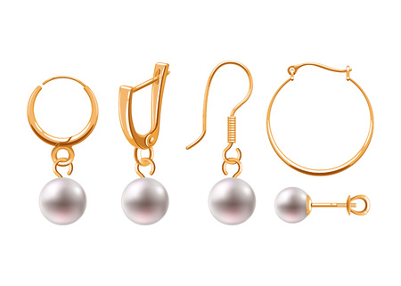 Realistic earrings jewelry accessories icons set. Imagens - 88047321
