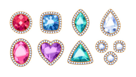 Colorful gemstones in different shapes vector illustration. Stock Illustratie