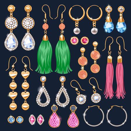 Realistic earrings icons set.