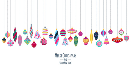 Colorful hanging retro baubles background with holiday greetings.