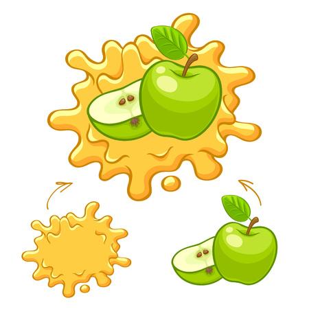 Yellow juice splash with apple fruit. Illustration