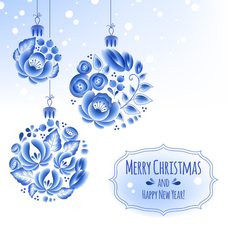Blue flowers gzhel baubles background. Decorative christmas tree balls.