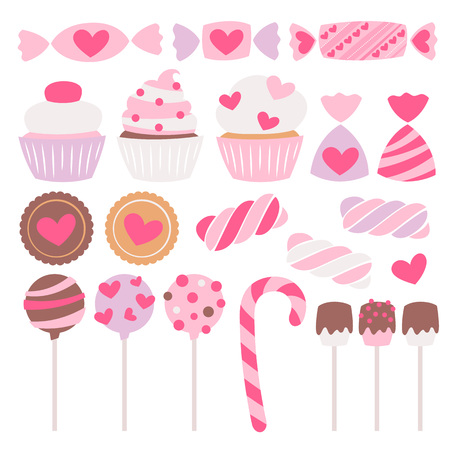 Valentine's day sweets set - marshmallow, hard candy, dragee, cake pop, jelly, peppermint candy, chocolate cookies, cupcakes vector illustration. Flat style.
