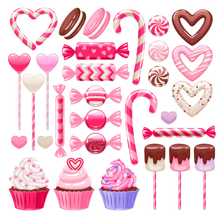 Valentine's day sweets set - marshmallow, hard candy, dragee, cake pop, jelly, peppermint candy, chocolate cookies, cupcakes vector illustration Vettoriali