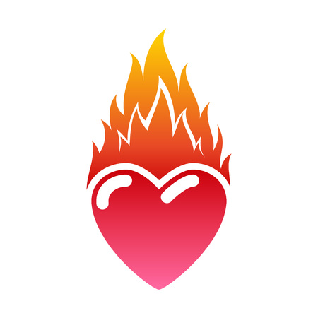 Flaming heart icon. Love symbol. Passion and fire. Valentine's day illustration. 일러스트