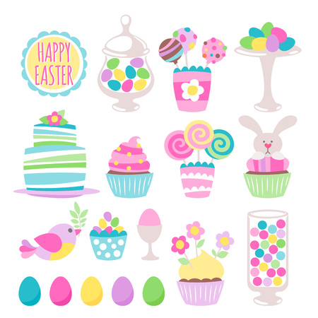Colorful easter sweets icons set vector illustration. Cake, colorful eggs, cupcake, bird, bunny, candy jar and cake pops