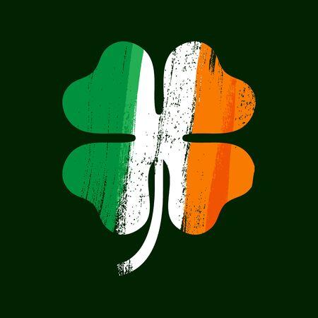 Shamrock clover icon. Irish flag texture. Symbol of luck.