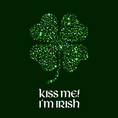 Kiss me Im Irish message illustration. Illustration