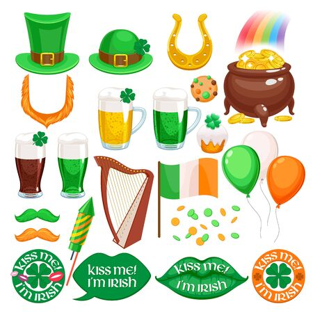 St patricks day irish icons set. Holiday symbols - celtic harp, irish hat, green beer, horseshoe, pot with golden coins and rainbow etc Illustration