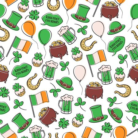 Sts Patrick's day Irish seamless pattern illustration.