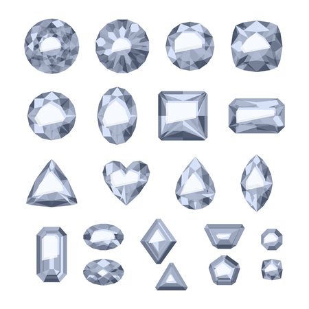 Set of flat style silver jewels. Illustration