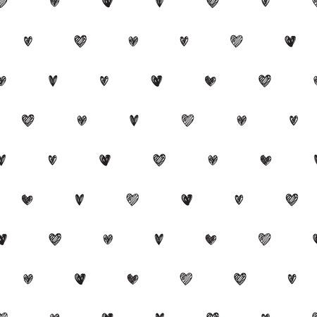 Polka dot doodle hearts pattern.