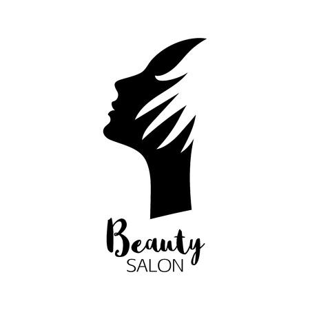 Beauty salon logo with woman head silhouette and hand. Çizim
