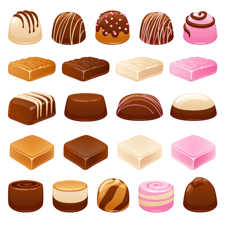 Chocolate candies set. Assorted sweets. Vettoriali