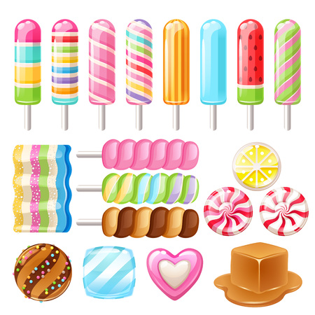 Ensemble de bonbons différents. Bonbons assortis.