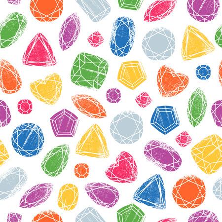 Seamless gemstones pattern on white. Illustration