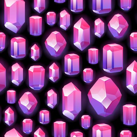 Seamless gemstones crystals pattern on black.