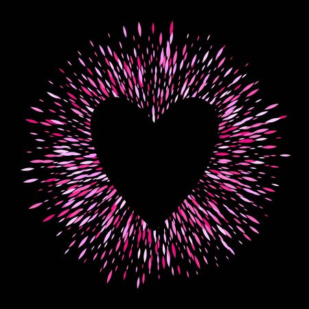 Pink sharp oval sequins glitter round ring background with heart. Firework burst vector illustration. Good for luxury poster banner advertising design.