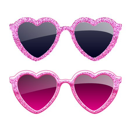 Set of pink glitter heart sunglasses. Vectores