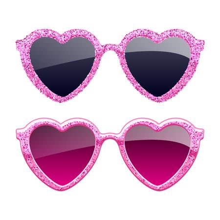 Set of pink glitter heart sunglasses. Illustration