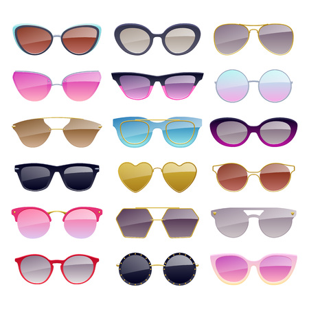Set of colorful sunglasses icons. Illustration