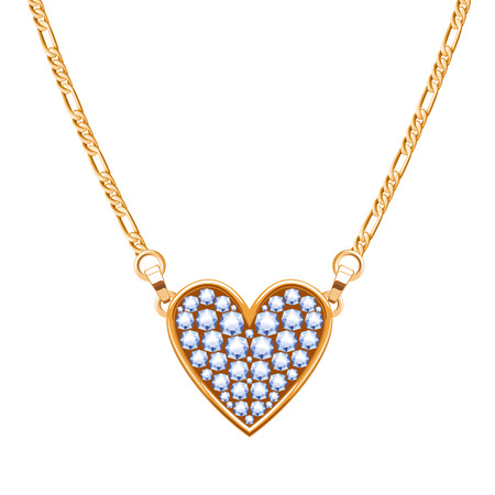 Golden chain necklace with diamonds gemstones pendant, heart shape.