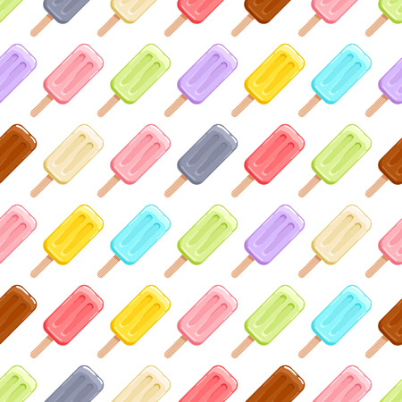 Colorful ice cream popsicles seamless pattern. Ice-cream sweets background.