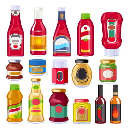 Zestaw butelek do sosów i dressingów. Ilustracje wektorowe