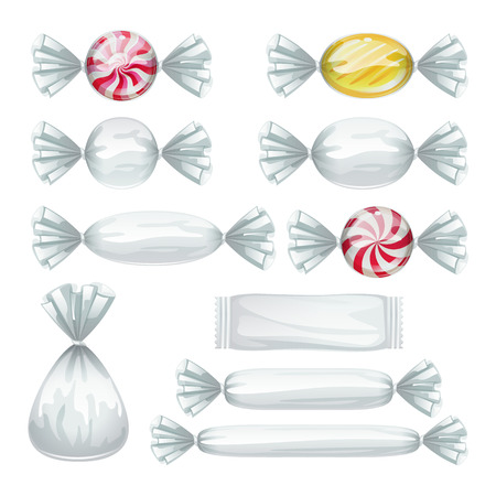 Set of candies in transparent wrappers. 向量圖像