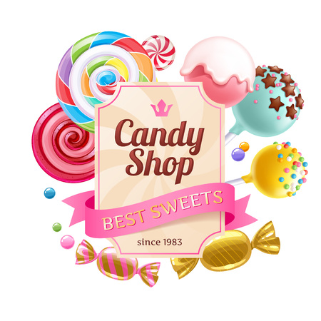 Candies and sweets colorful background.