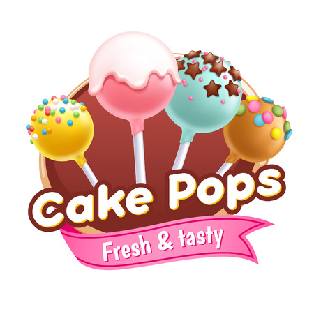 Cake pops sweets colorful poster or badge.
