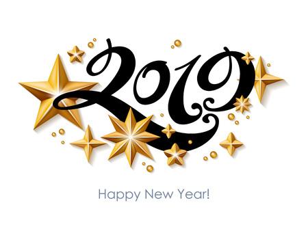 Fondo feliz año nuevo 2019. Plantilla de tarjeta de felicitación estacional. Foto de archivo - 102724525