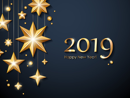 2019 Happy New Year background. Seasonal greeting card template. Vettoriali