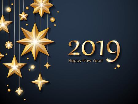 2019 Happy New Year background. Seasonal greeting card template. Vettoriali