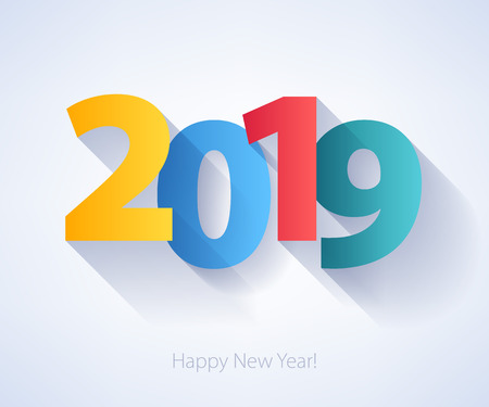 2019 Happy New Year background with colorful number. Christmas winter holidays design. Seasonal greeting card, calendar, brochure template.