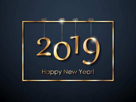 2019 Happy New Year background. Christmas winter holidays design. Seasonal greeting card, calendar, brochure template.