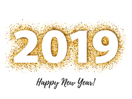 2019 Happy New Year background. Seasonal greeting card template. Stock Illustratie