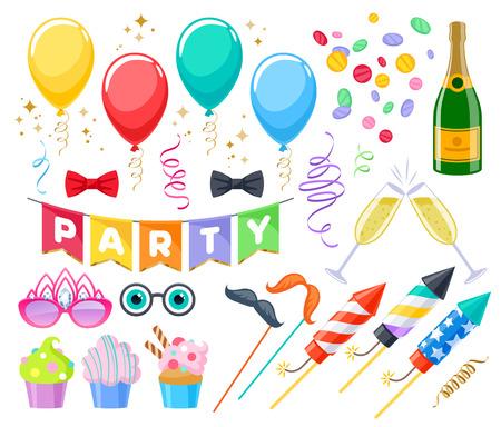 Celebración fiesta carnaval festivo conjunto de iconos. Símbolos coloridos: magdalenas, lazos, vasos, globos, champán, fuegos artificiales y banderas