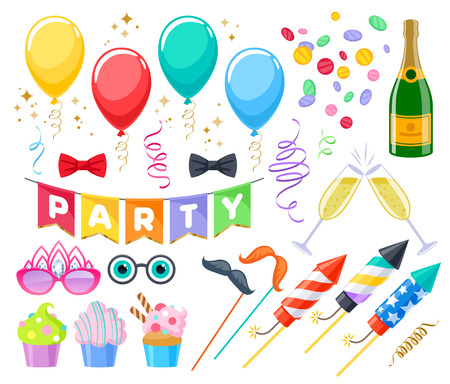 Celebration party carnival festive icons set. Colorful symbols - cupcakes, bows, glasses, balloons, champagne, fireworks and flags