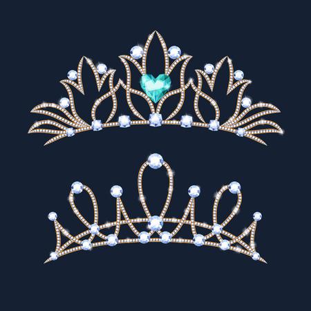 Ensemble de couronnes de diadème. Diadème de mariage avec diamants et pierres précieuses.